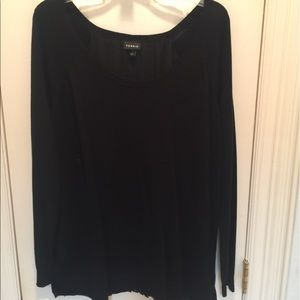 Torrid black sweater with gathered sheer back